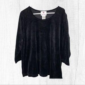 1X Black Velvet Sequin Shirt Quacker Facto…